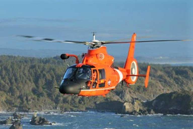 Coast Guard Helicopter has Emergency During Brookings Plane